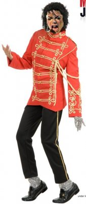 Michael Jackson RED Military Rocker Jacket w/Pants DELUXE Adult Costume PRE-SALE