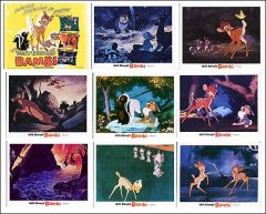 BAMBI Disney 1982 9 card set