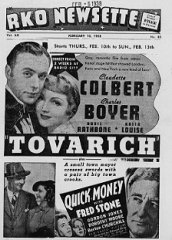 Tovarich Cladutte Colbert Charles Boyer Quick Money Fred Stone