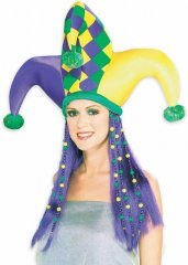 Mardi Gras Jester Hat with Hair