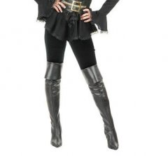 Pirate Thigh High Black Leather BOOTS Cover