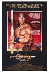 Conan the Destroyer Arnold Schwarzenegger in near mint condition folded ready for linen backing