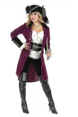 Pirate Vixen Two Toned Velvet Coat w/Skull Buttons COAT