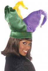 Tri-color velvet. ch cap is bell tipped & wire framed, so the hat styling is up to you!