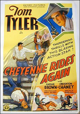 Cheyenne Rides Again Tom Tyler 1936 ORIGINAL LINEN BACKED 1SH